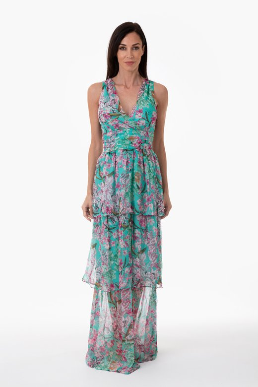 PRINTED SILK LONG DRESS