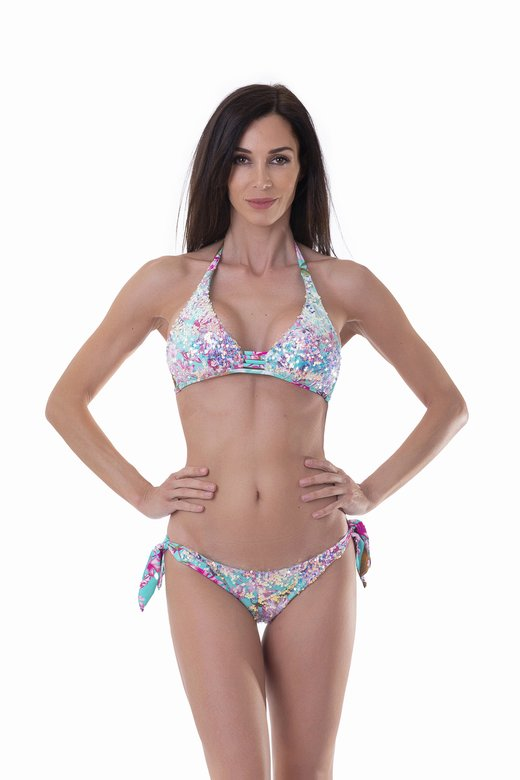 HALTER TRIANGLE BIKINI WITH SHIMMERING SEQUINS FLOWER PRINT
