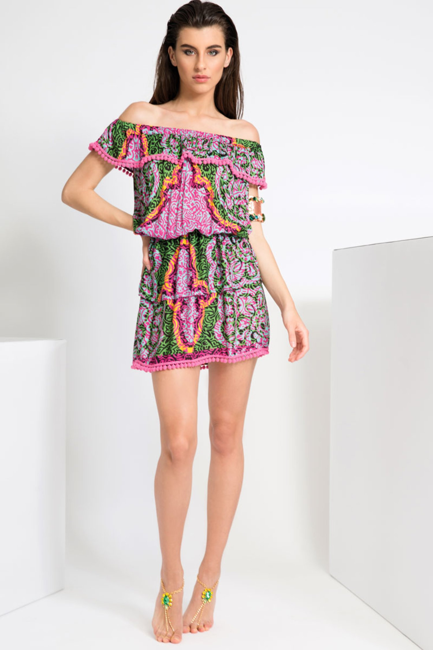 PRINTED VISCOSE SHORT DRESS WITH FRILLS AND POM-POM - India Pop Fuxia