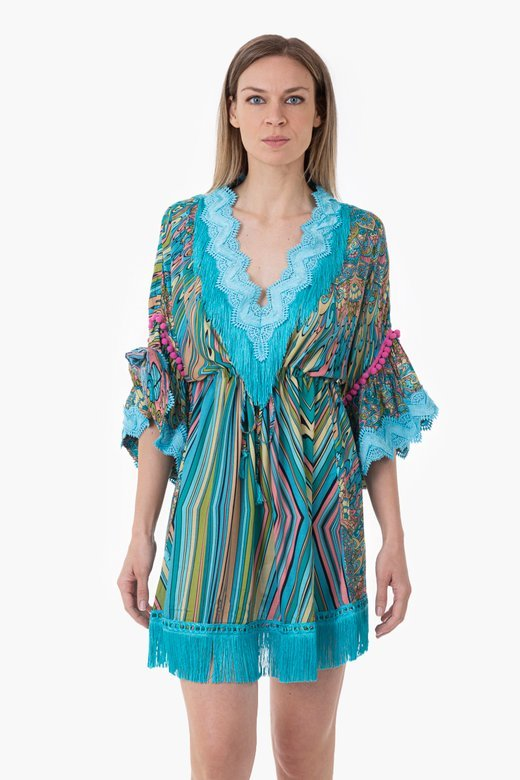 PRINTED VISCOSE SHORT KAFTAN WITH TRIMMING