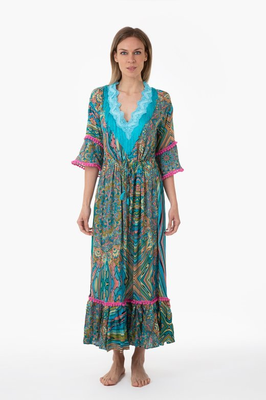 PRINTED VISCOSE LONG KAFTAN WITH TRIMMING