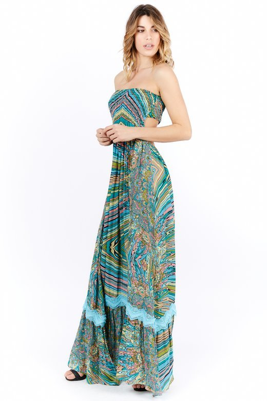 PRINTED VISCOSE LONG DRESS SMOCKING STITCH