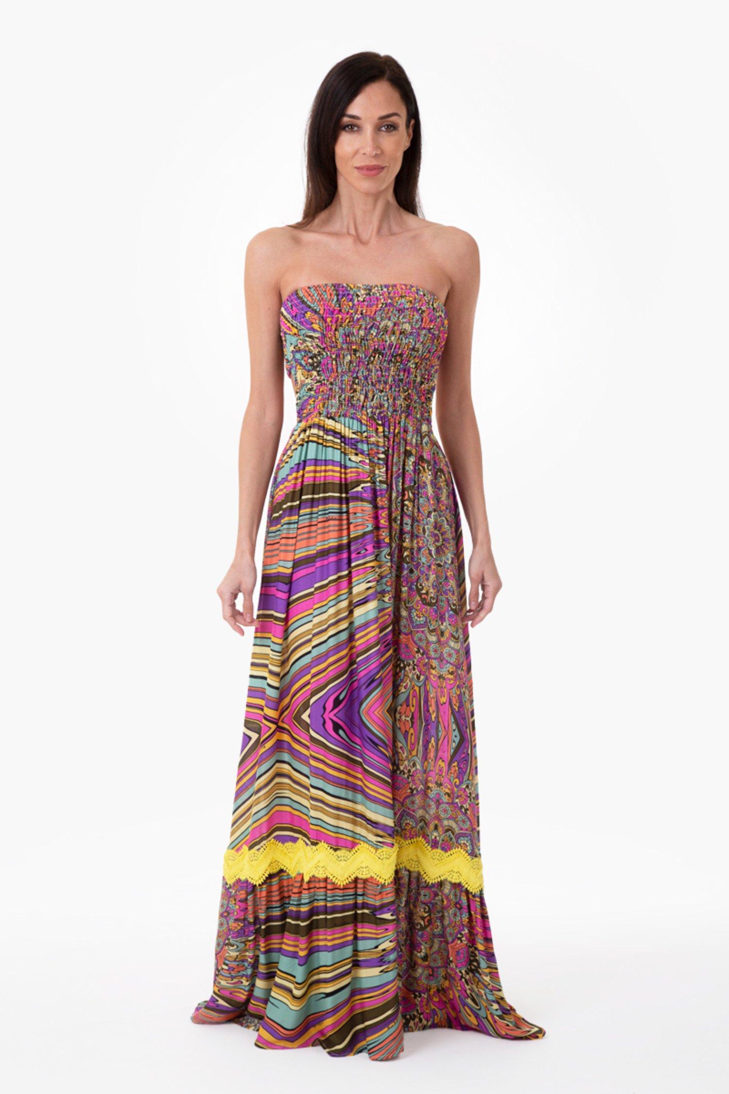 PRINTED VISCOSE LONG DRESS SMOCKING STITCH - Mandalaa Fuxia