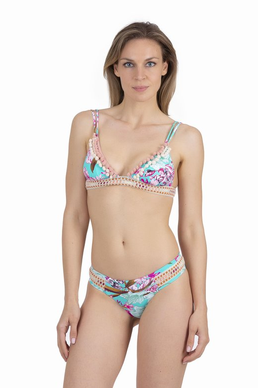 LUXE PRINTED TRIANGLE BIKINI WITH TRIMMING BELOW THE BUST