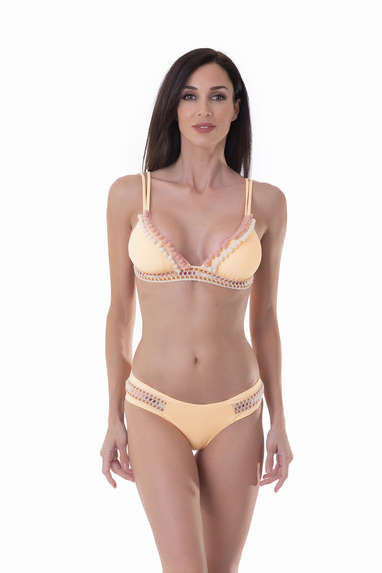 LUXE PLAIN COLOUR TRIANGLE BIKINI WITH TRIMMING BELOW THE BUST - Pesco