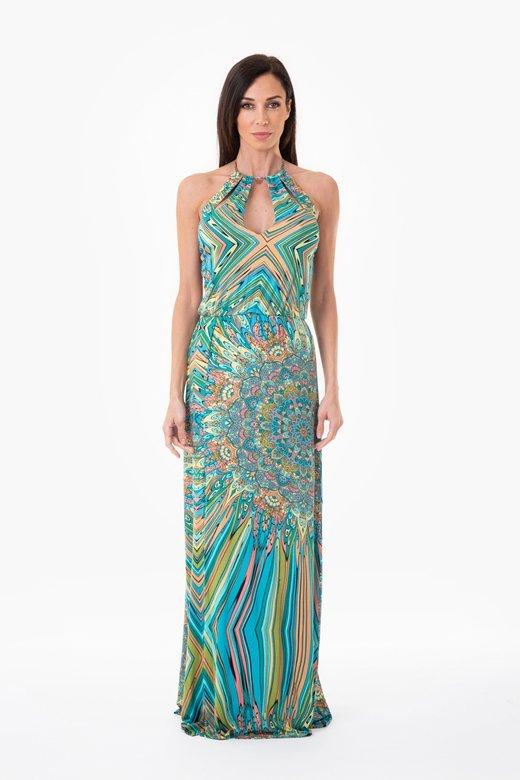 PRINTED JERSEY LONG DRESS WITH TEARDROP NECKLINE