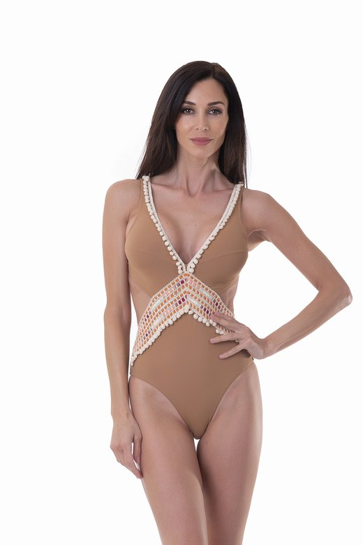 LUXE PLAIN COLOUR ONE-PIECE MONOKINI SILHOUETTE WITH TRIMMING