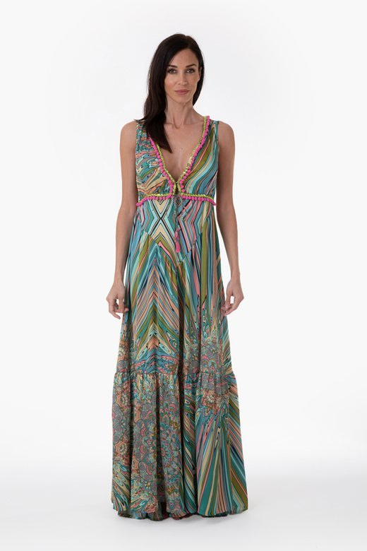 PRINTED SATIN LONG DRESS WITH TRIMMING