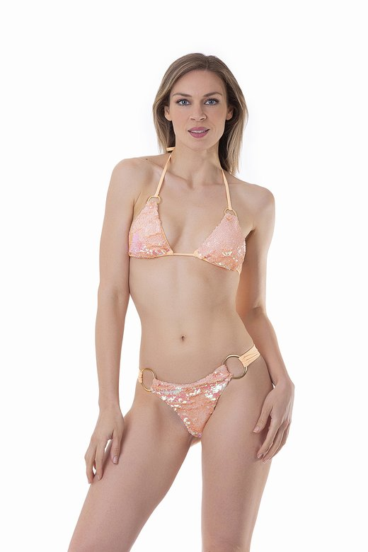 TRIANGLE BIKINI WITH SOLID COLOUR SEQUINS AND RINGS