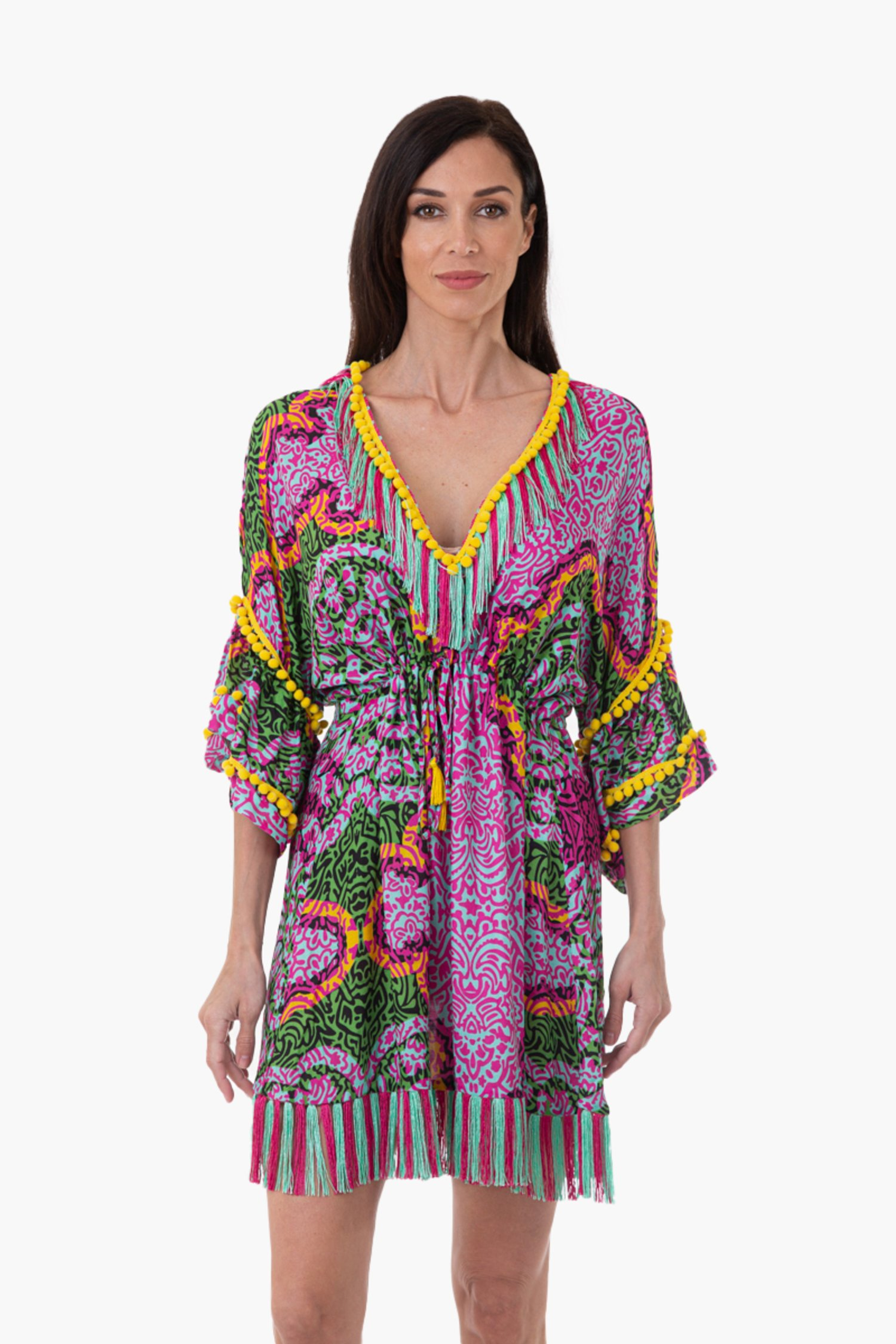 LUXE PRINTED VISCOSE SHORT KAFTAN WITH TRIMMING - India Pop Fuxia