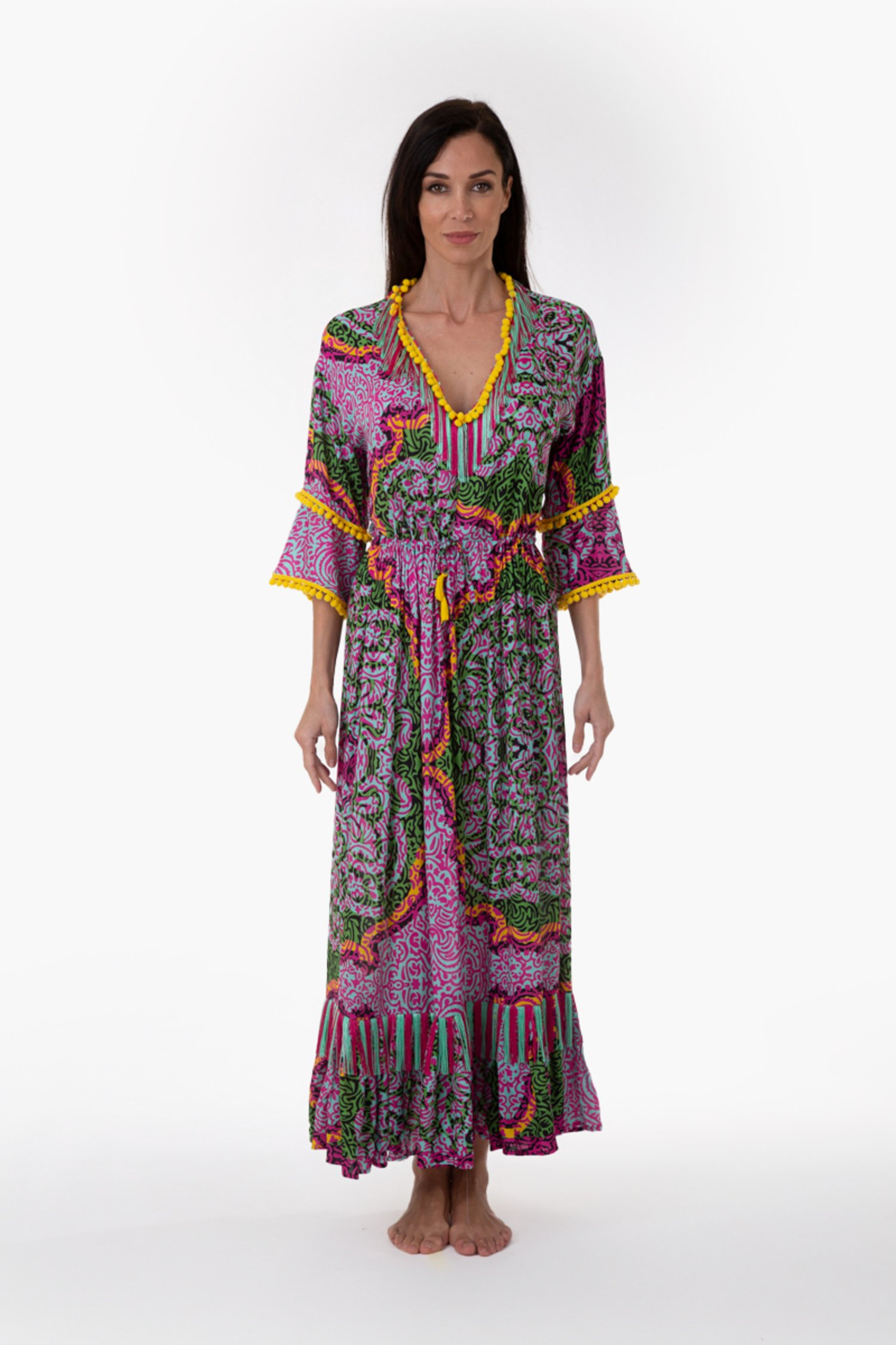 PRINTED VISCOSE LONG KAFTAN WITH TRIMMING - India Pop Fuxia