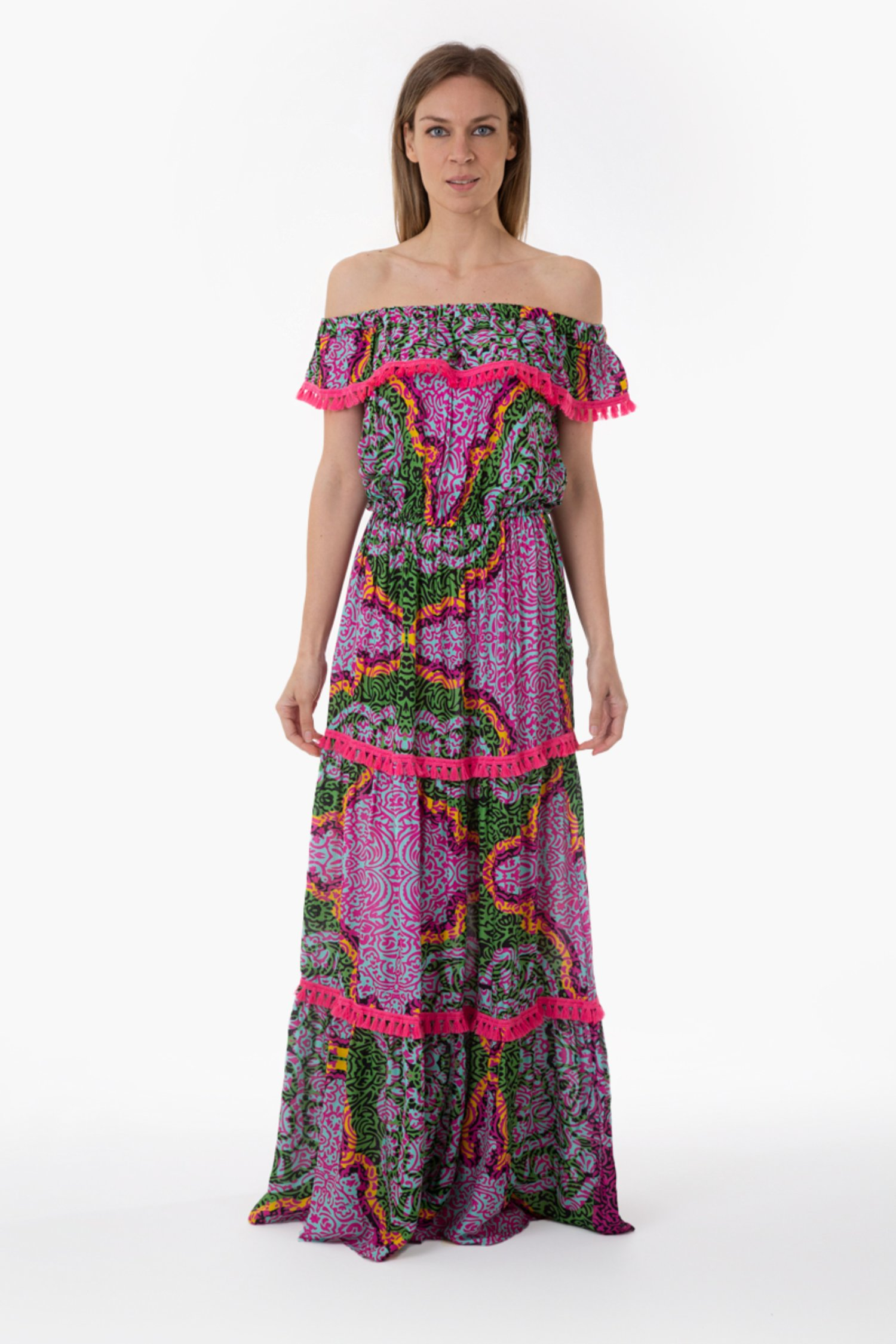 PRINTED VISCOSE LONG DRESS WITH FRILLS - India Pop Fuxia