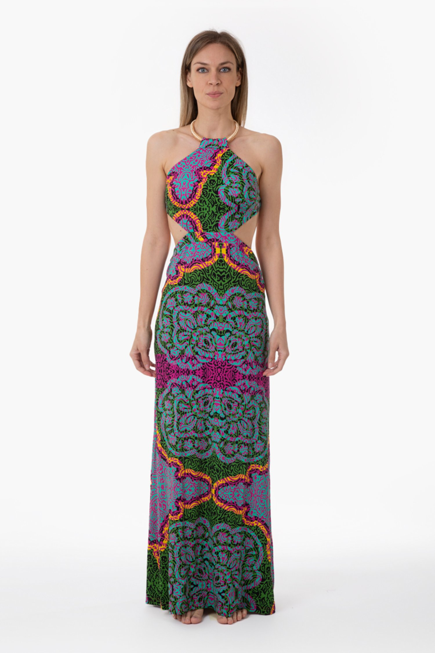 PRINTED JERSEY LONG DRESS WITH NECKLACE - India Pop Fuxia