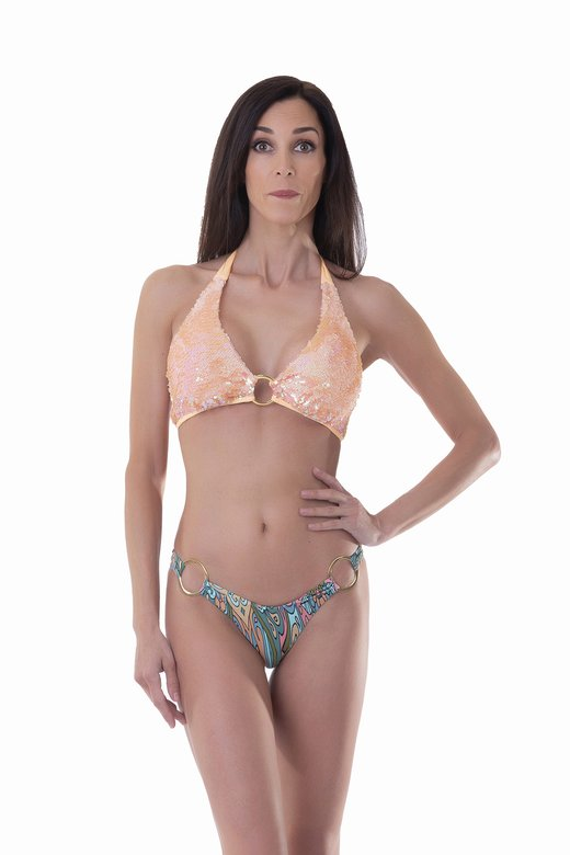 HALTER TRIANGLE BIKINI WITH SEQUINS SOLID COLOUR WITH RING