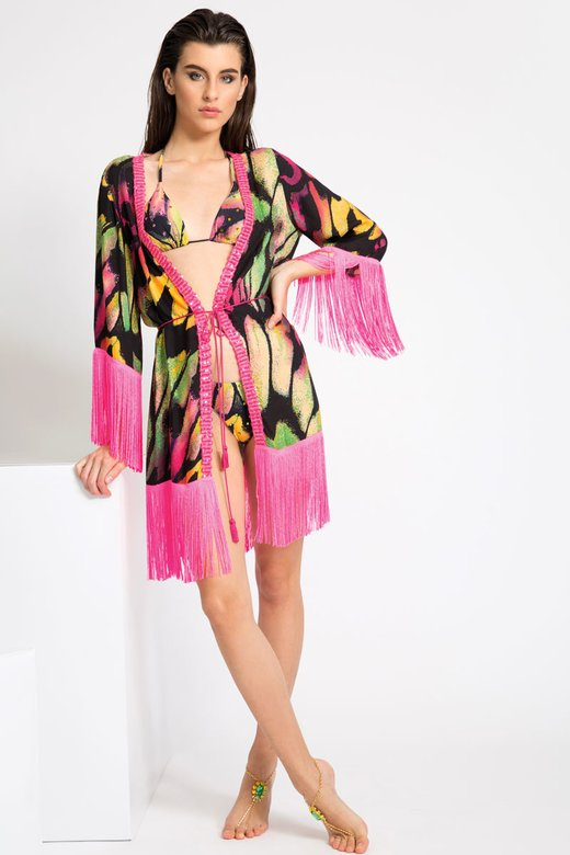 SHORT ROBE WITH TRIMMING AND FRINGES