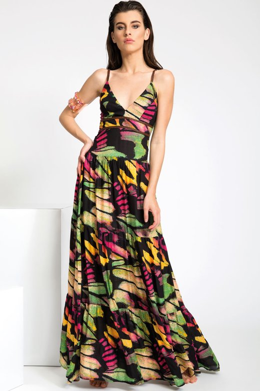 LONG DRESS WITH ARTIFICIAL LEATHER BRAIDS