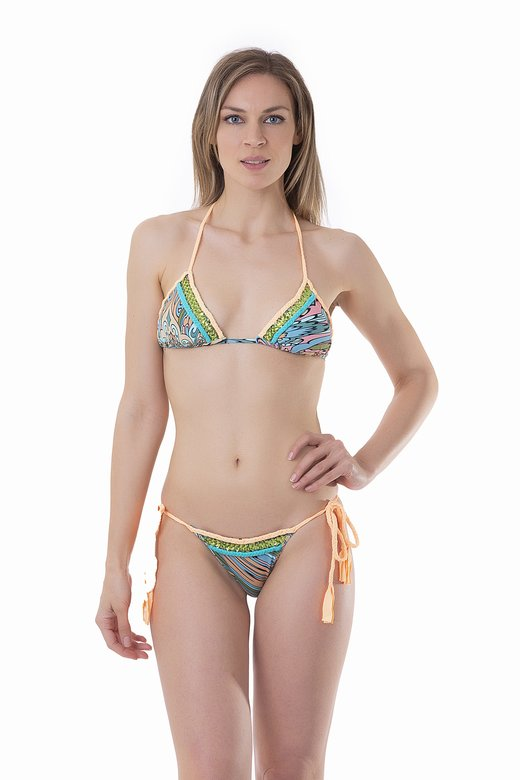 PRINTED TRIANGLE BIKINI WITH APPLICATION BRAIDS AND SEQUINS