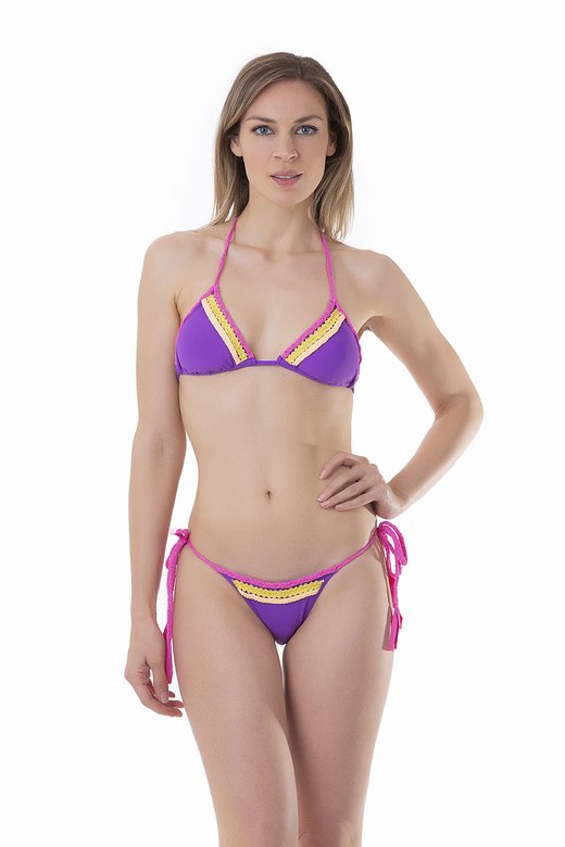 SOLID COLOUR TRIANGLE BIKINI WITH APPLICATION BRAIDS AND SEQUINS