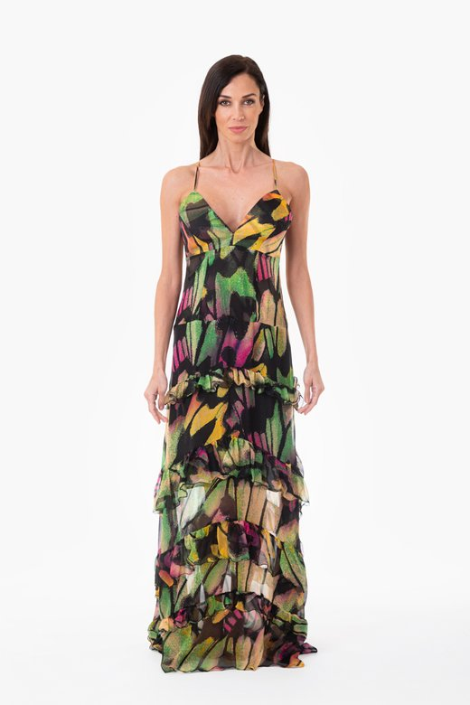 SILK LONG EVENING DRESS WITH FRILLS