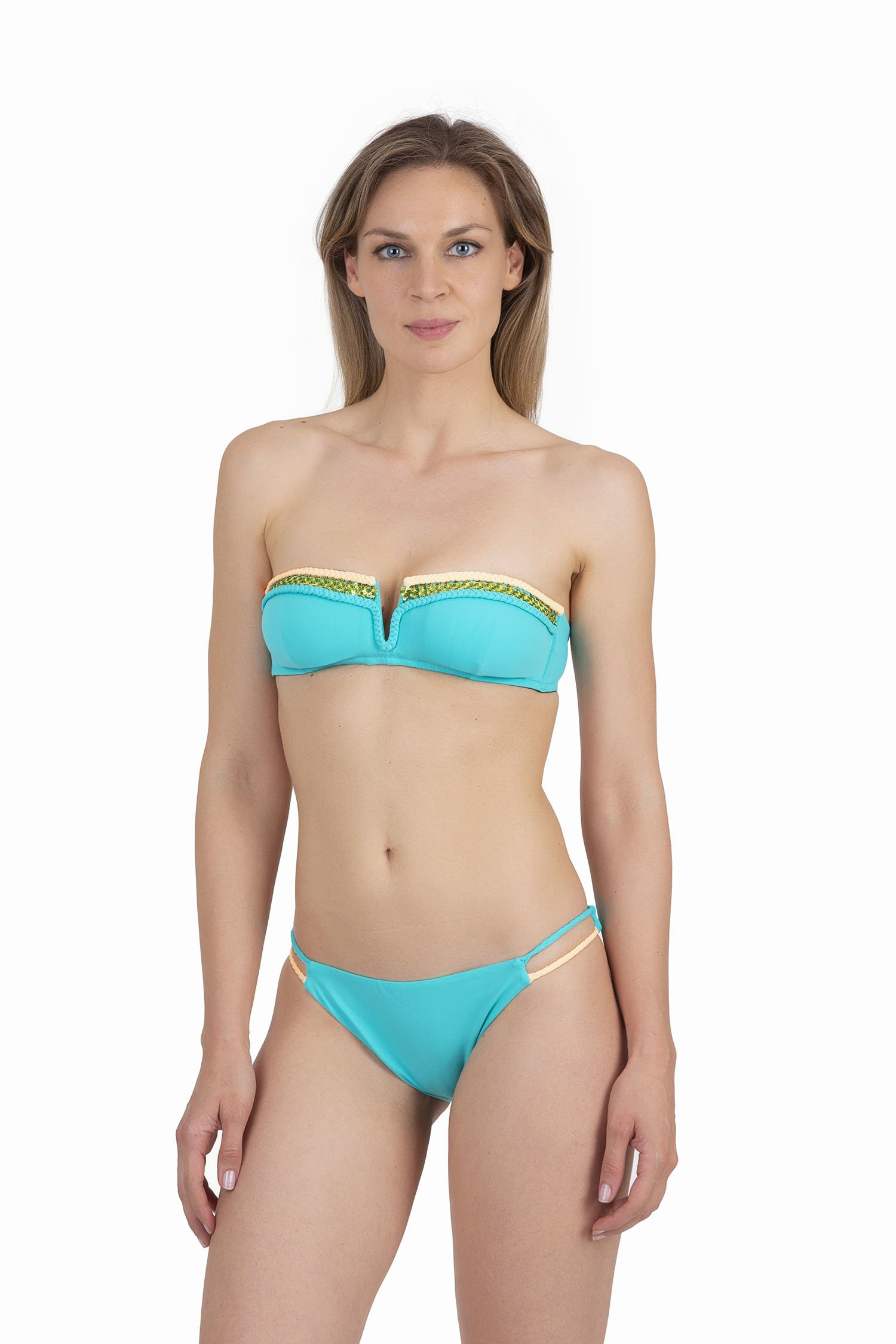 SOLID COLOUR BANDEAU BIKINI WITH APPLICATION BRAIDS AND SEQUINS - Turchese Ciano