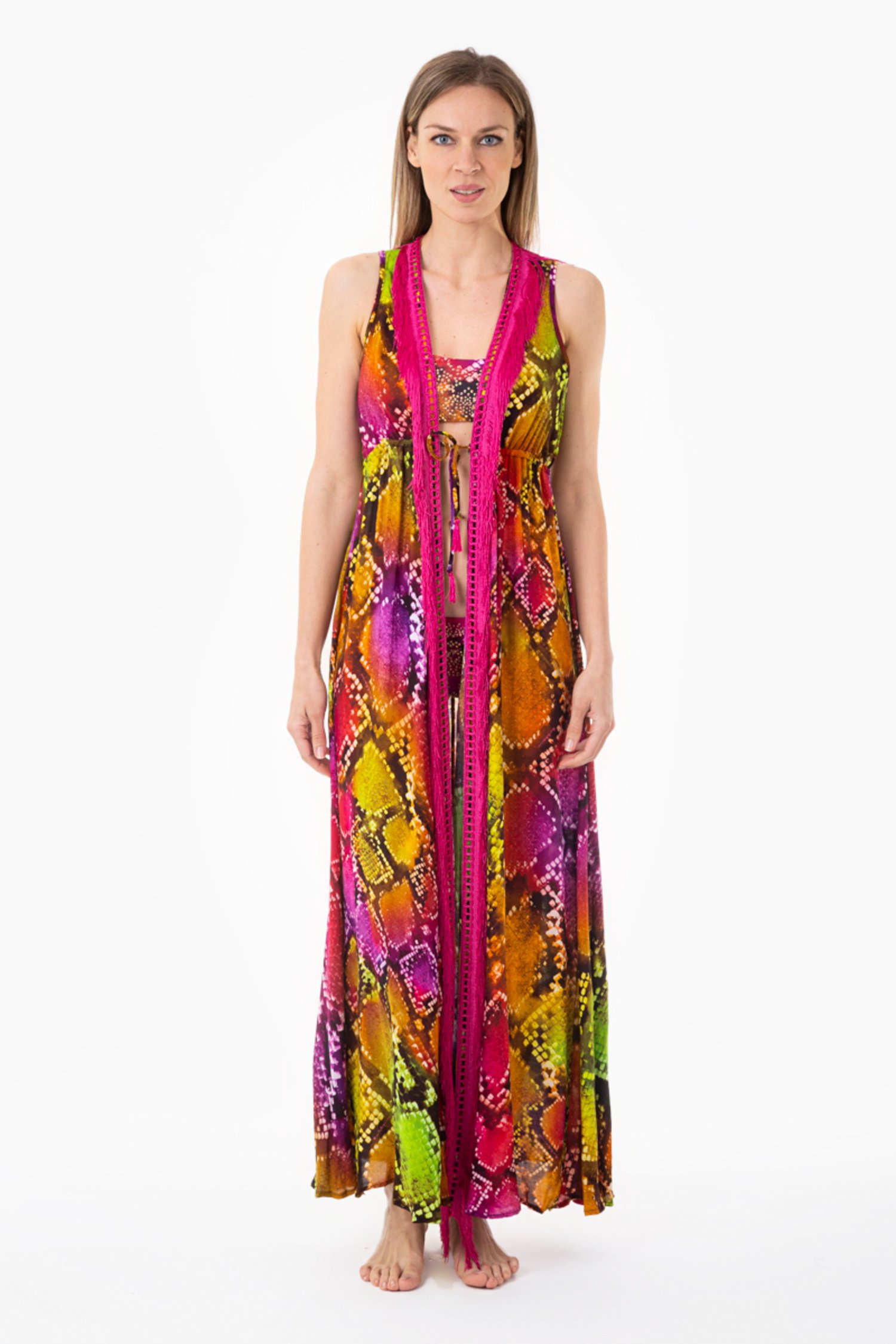LONG ROBE DRESS WITH FRINGES - Pitone Fuxia