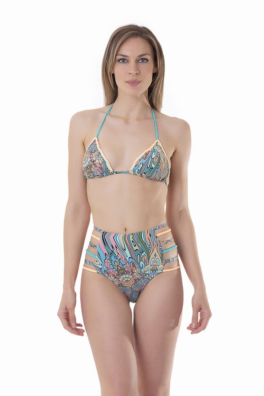 PRINTED TRIANGLE BIKINI WITH APPLICATION BRAIDS HIGH-WAIST BOTTOM WITH TIES
