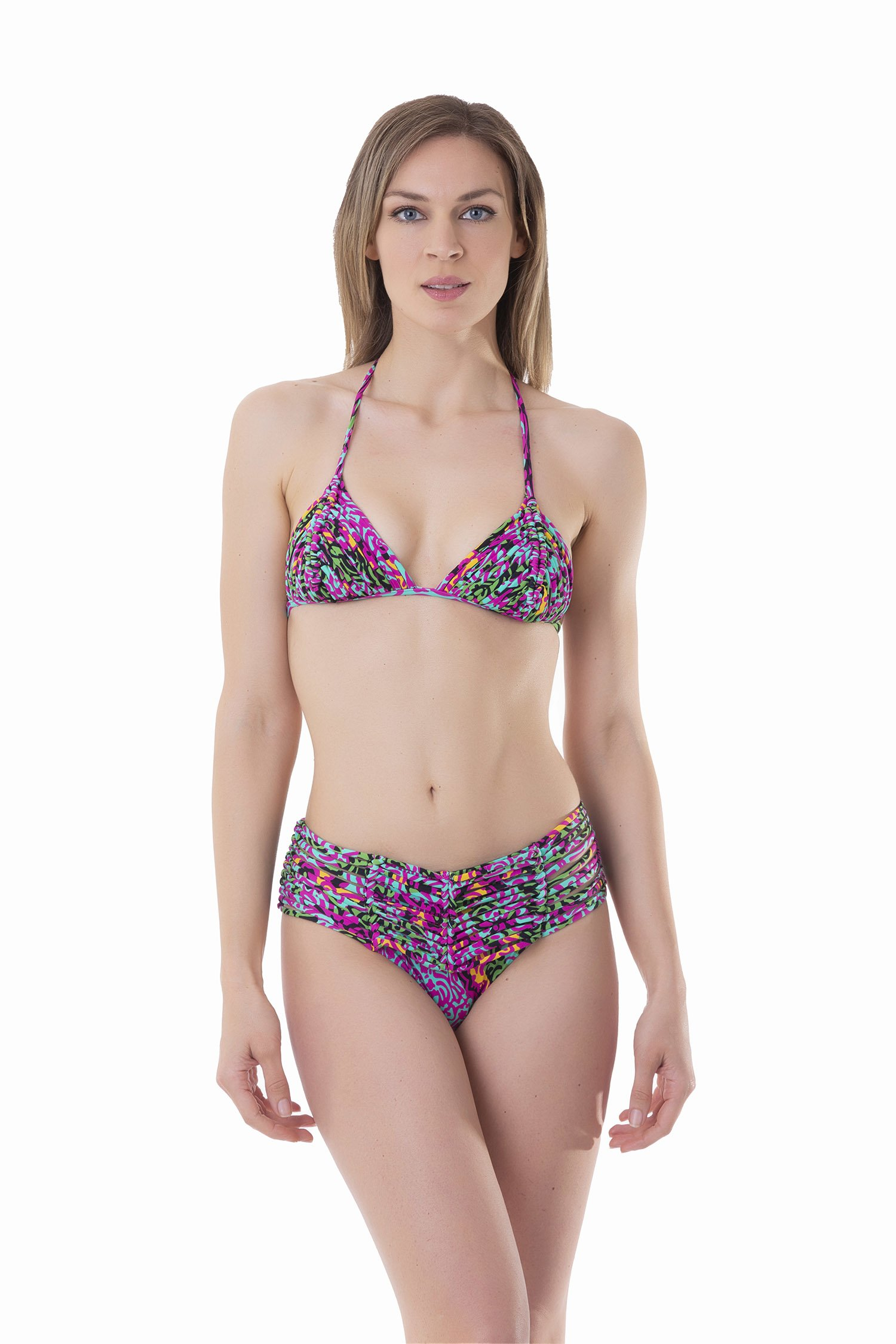 LUXE PRINTED TRIANGLE BIKINI WITH MACRAME' AND BOTTOM WITH MACRAME' BELT - India Pop Fuxia