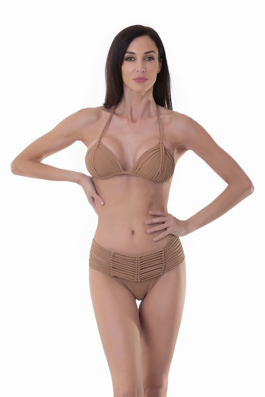 LUXE PLAIN COLOUR TRIANGLE BIKINI WITH MACRAME' AND BOTTOM WITH MACRAME' BELT