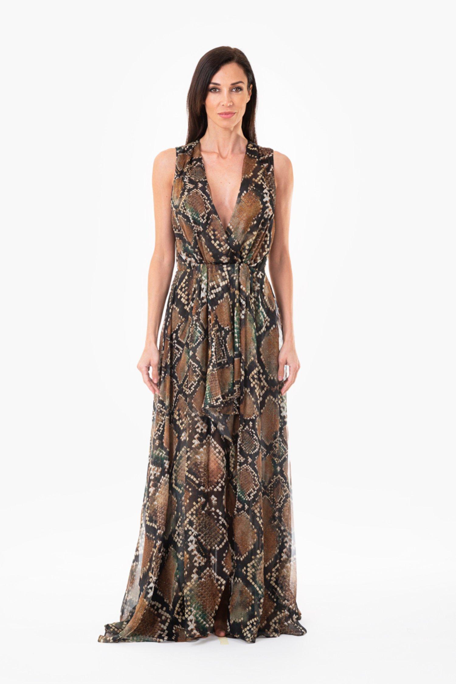 ASYMMETRIC SILK EVENING DRESS - Pitone Marrone