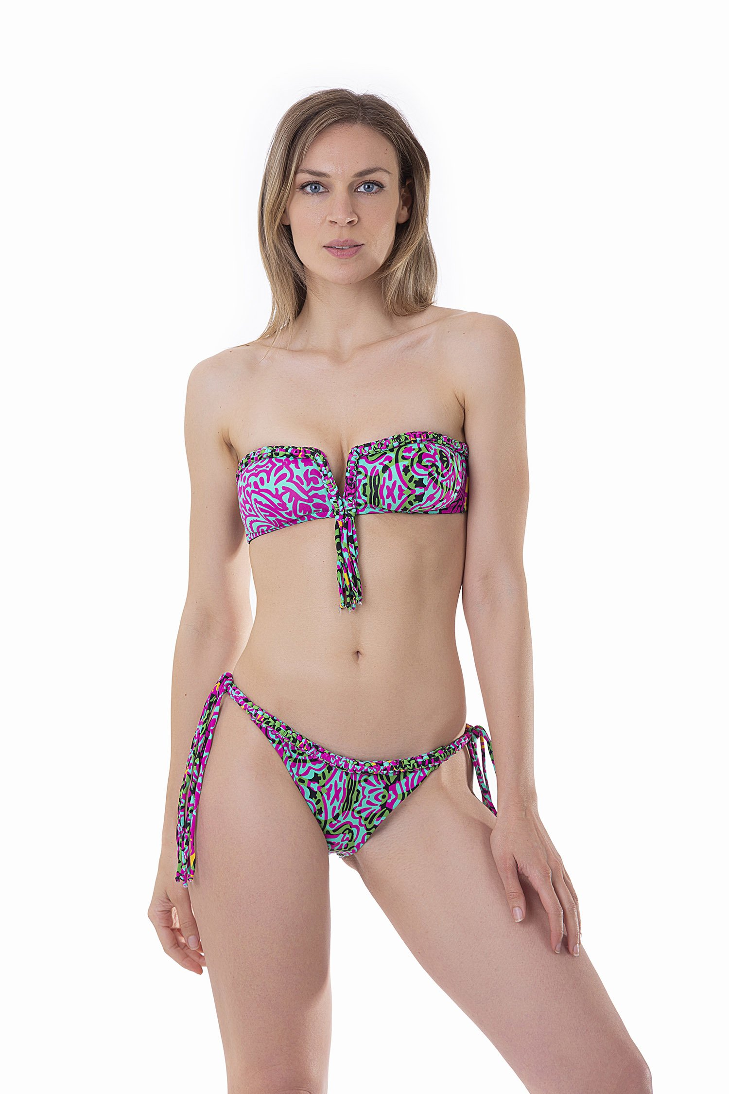 LUXE PRINTED BANDEAU BIKINI WITH MACRAME' BRAZILIAN BOTTOM - India Pop Fuxia