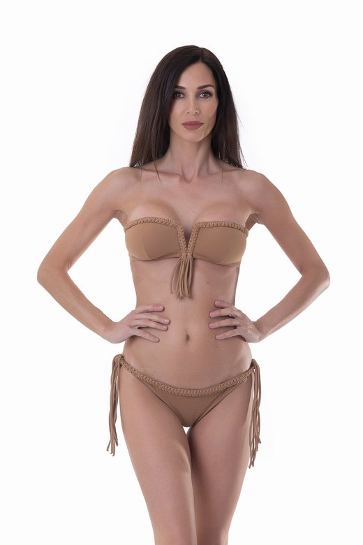 LUXE PLAIN COLOUR BANDEAU BIKINI WITH MACRAME' BRAZILIAN BOTTOM