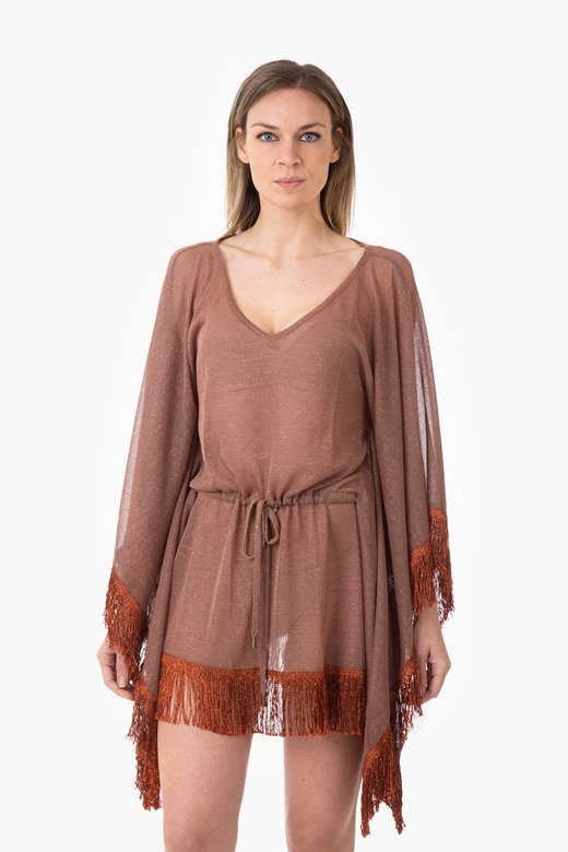 PONCHO IN LUREX WITH FRANGE