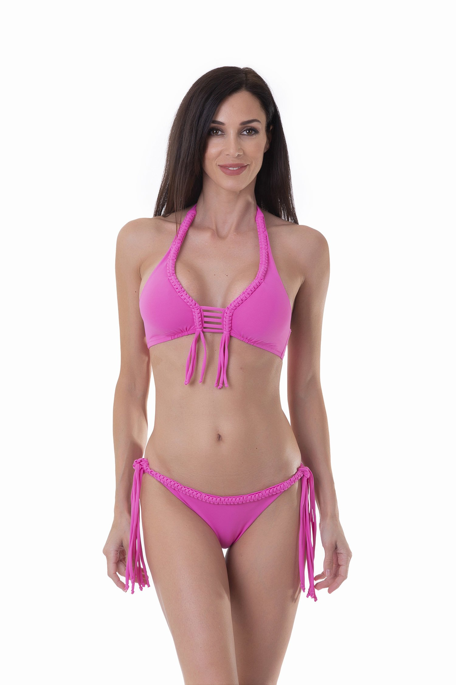 LUXE PLAIN COLOUR HALTER TRIANGLE BIKINI WITH MACRAME' APPLICATION - Rosa Camelia