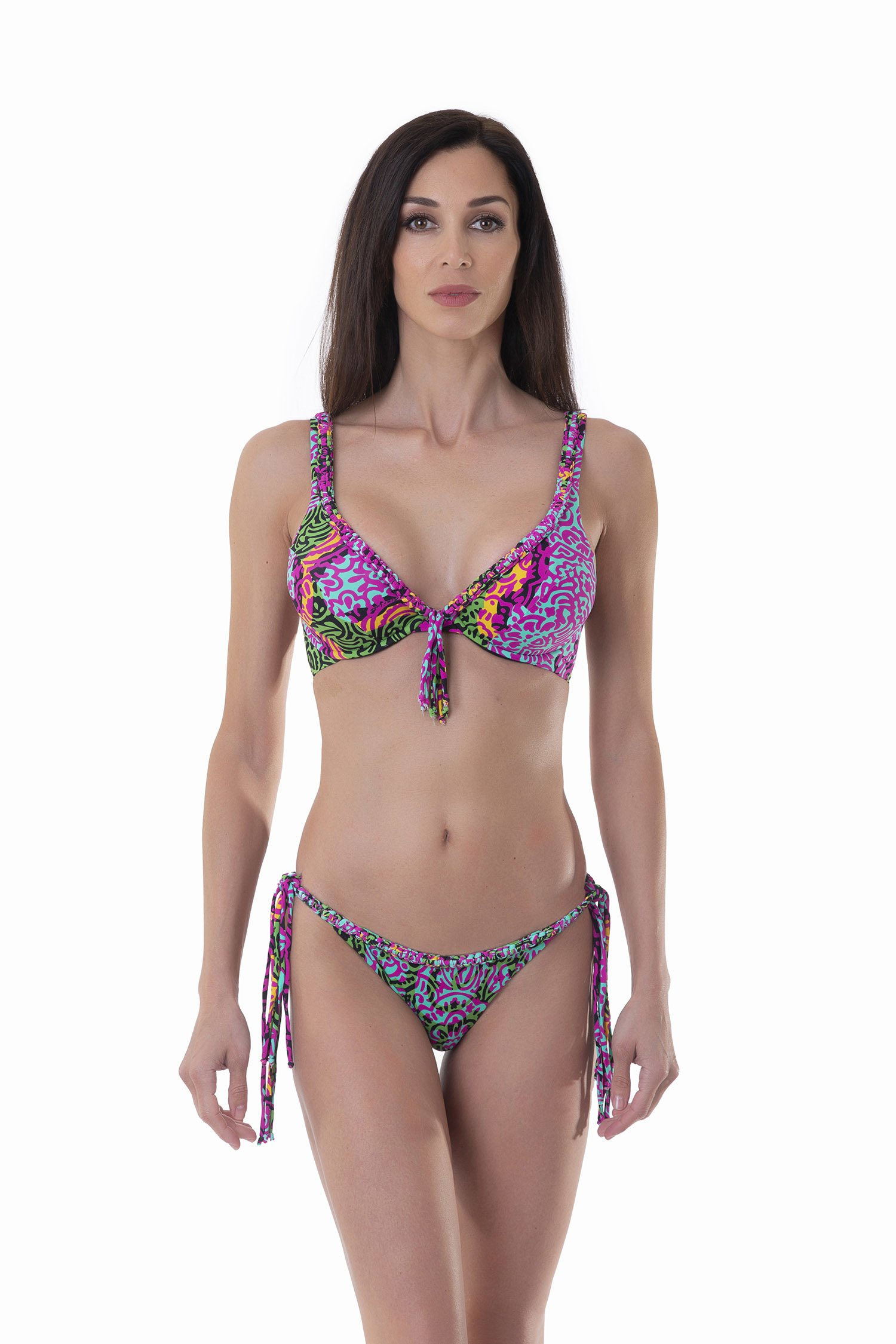 LUXE PRINTED UNDERWIRE HALTER TRIANGLE BIKINI - India Pop Fuxia