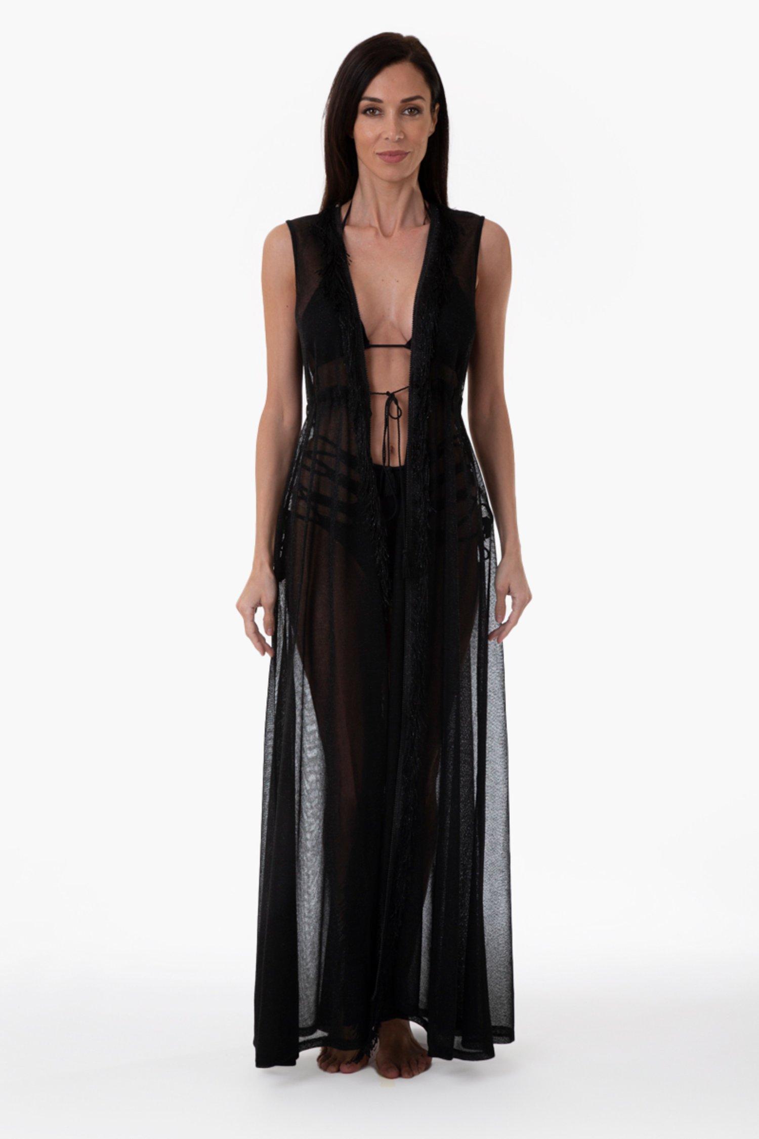 PLAIN COLOUR LUREX LONG ROBE DRESS - Maglia Lurex Nero