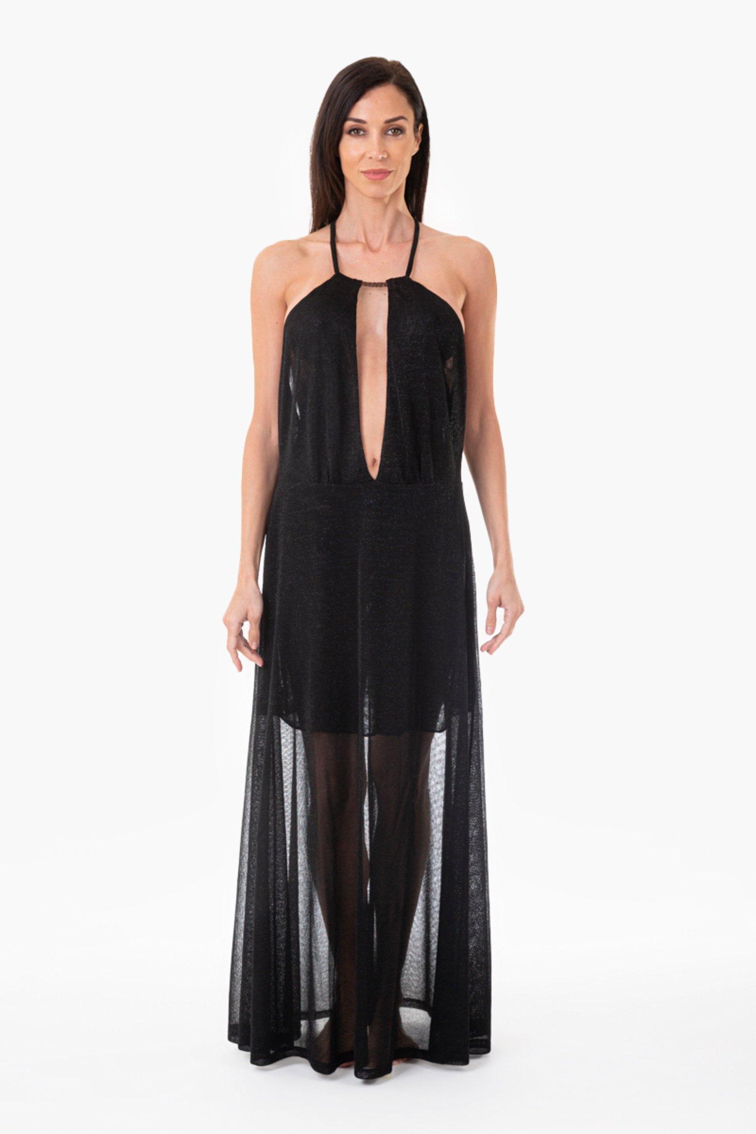LUREX LONG BEACH DRESS WITH DEEP NECKLINE - Maglia Lurex Nero