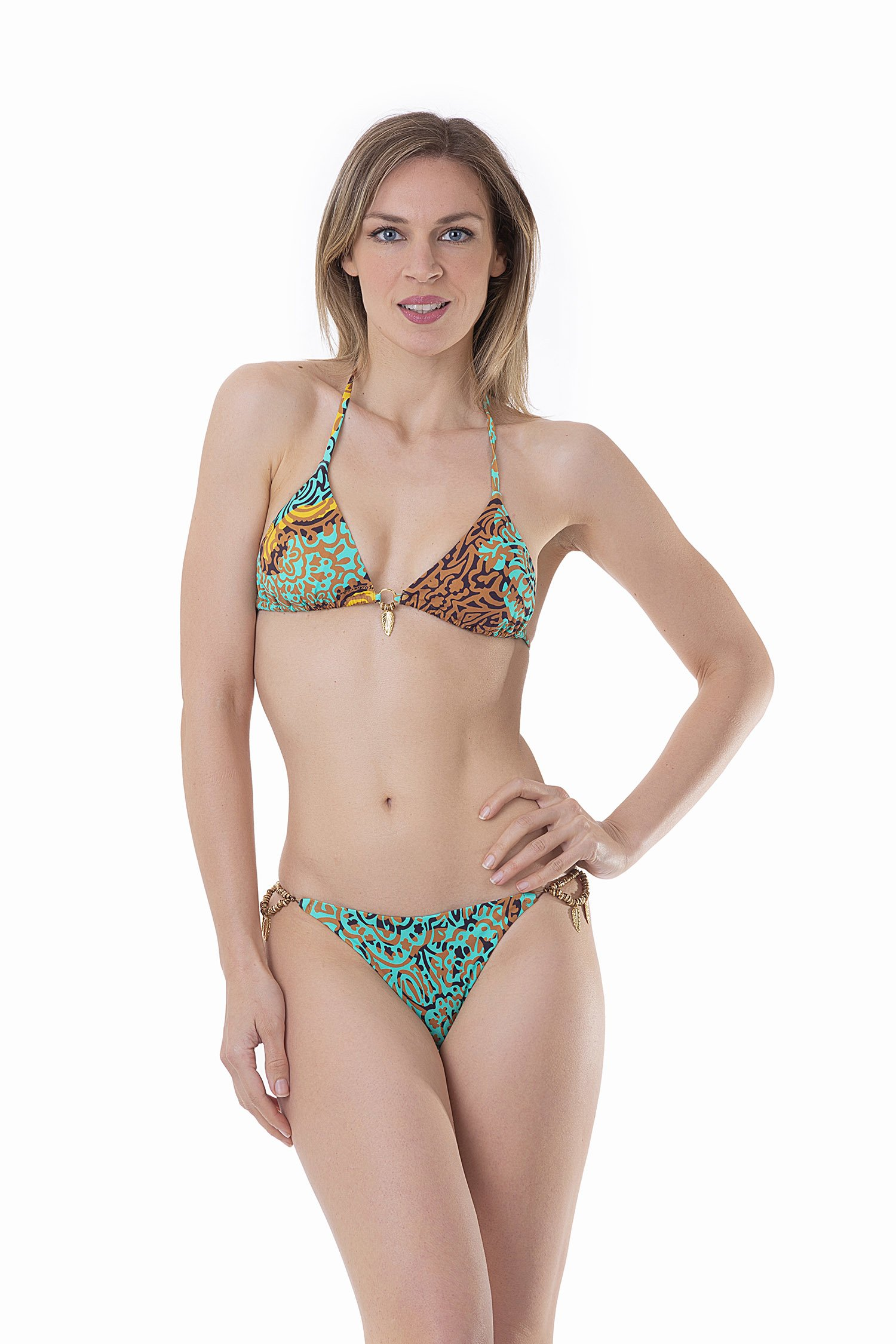 LUXE PRINTED TRIANGLE BIKINI WITH COSTUME JEWELLERY - India Pop Marrone