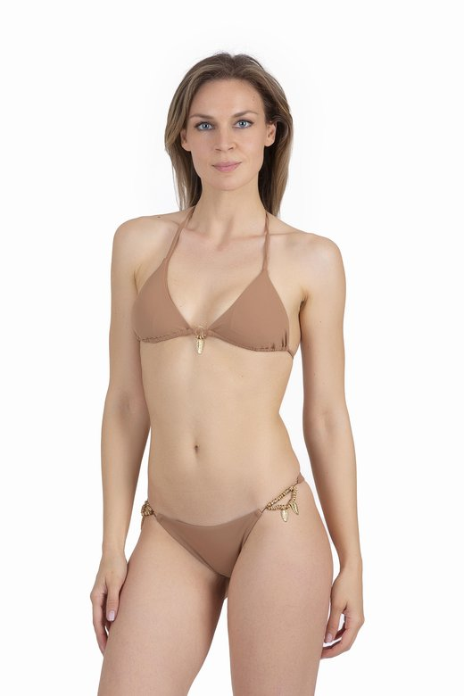 LUXE PLAIN COLOUR TRIANGLE BIKINI WITH COSTUME JEWELLERY