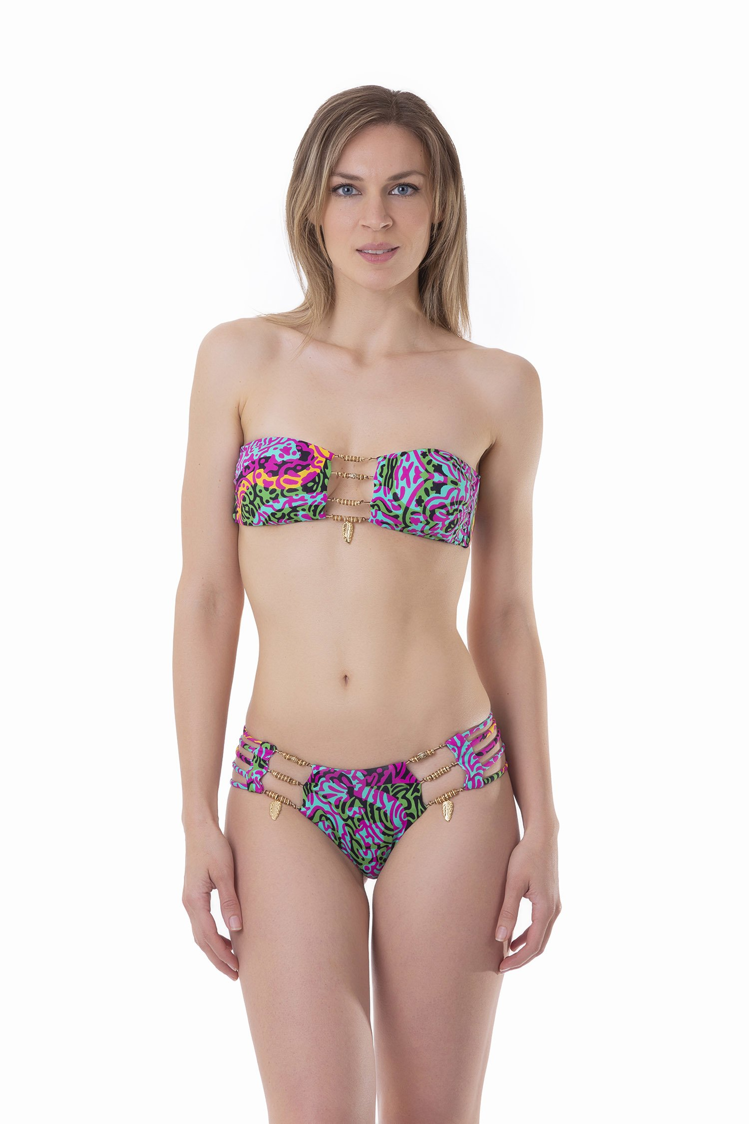 LUXE PRINTED BANDEAU BIKINI WITH CUSTOM JEWELLERY - India Pop Fuxia
