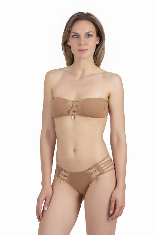 LUXE PLAIN COLOUR BANDEAU BIKINI WITH CUSTOM JEWELLERY
