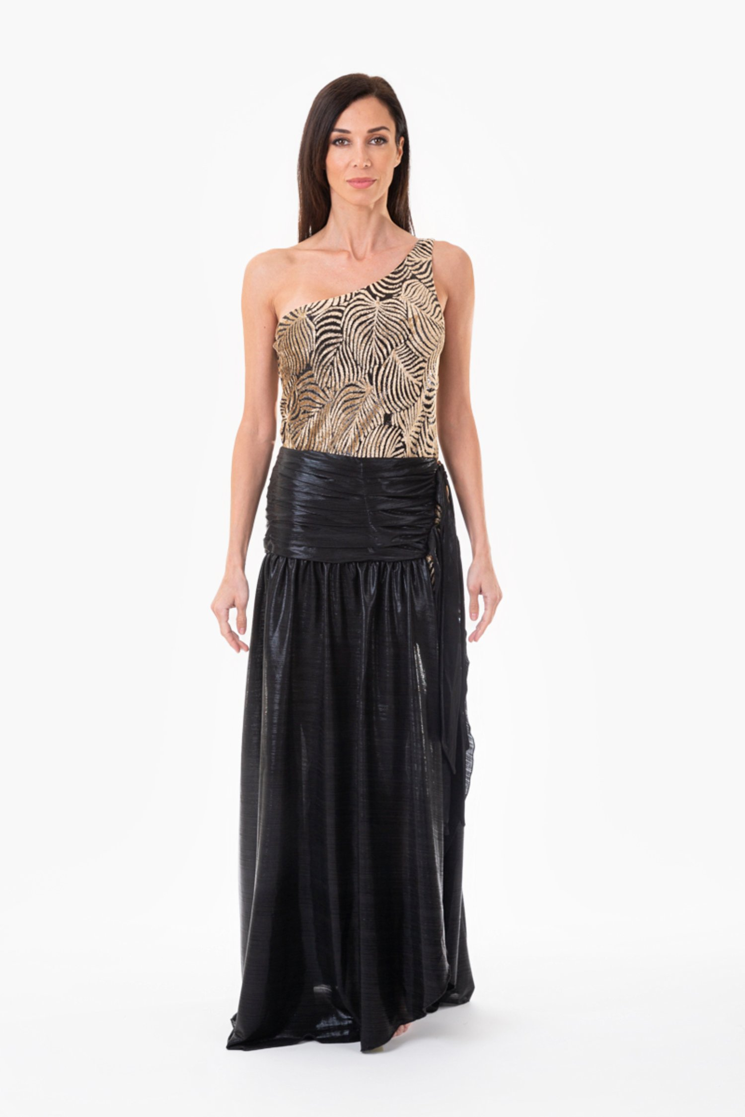 ONE SHOULDER DRESS WITH WIDE SKIRT AND RINGS - Devore' Nero