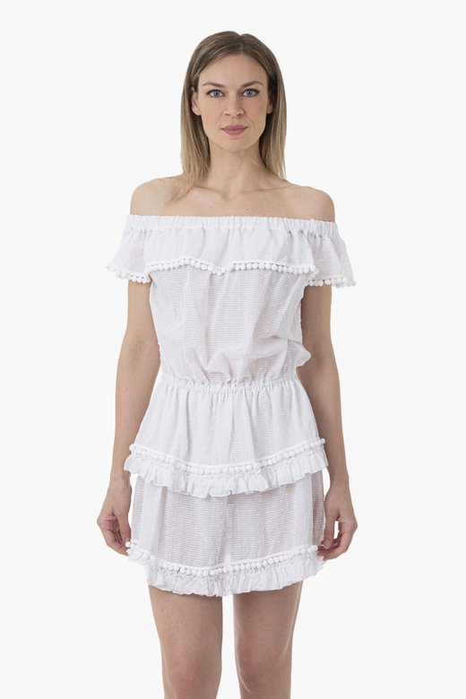 TEXTURED COTTON SHORT DRESS WITH FRILLS AND POM-POM