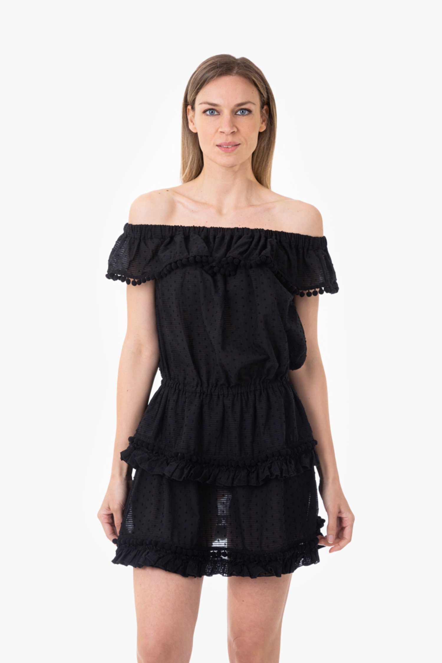 TEXTURED COTTON SHORT DRESS WITH FRILLS AND POM-POM - Black