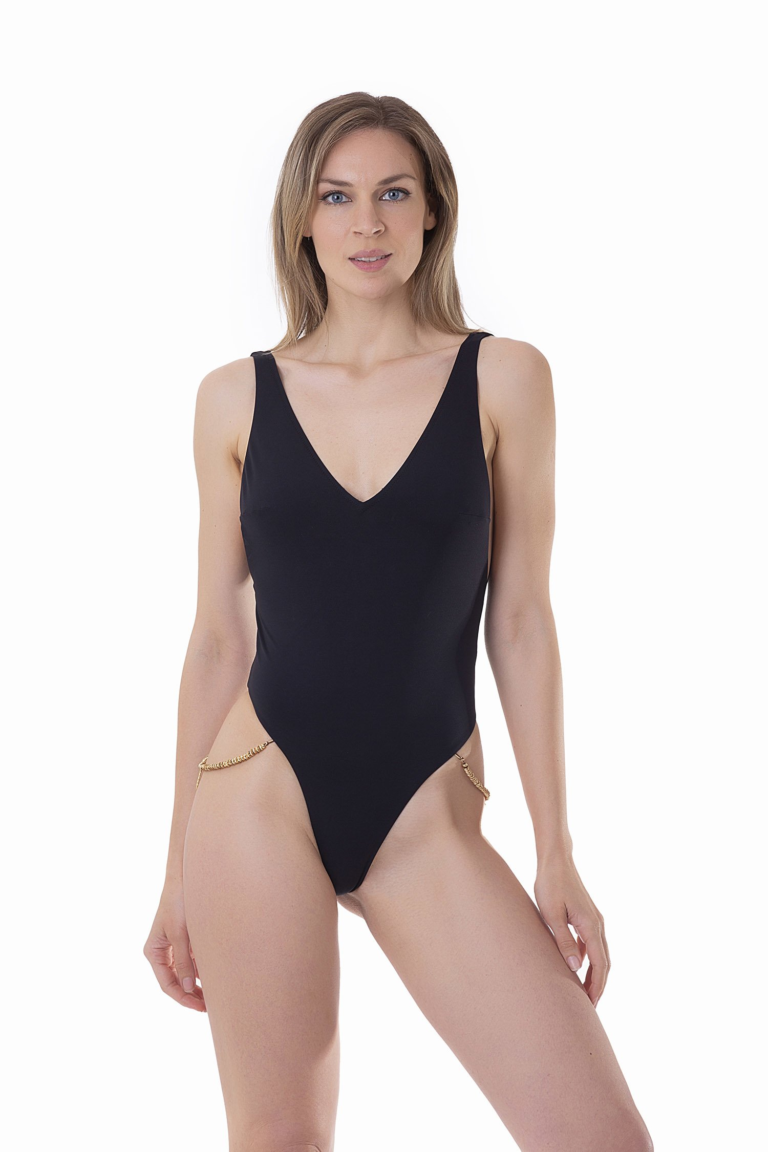 LUXE PLAIN COLOUR ONE-PIECE WITH LEAVE CUSTOM JEWELLERY APPLICATION - Nero