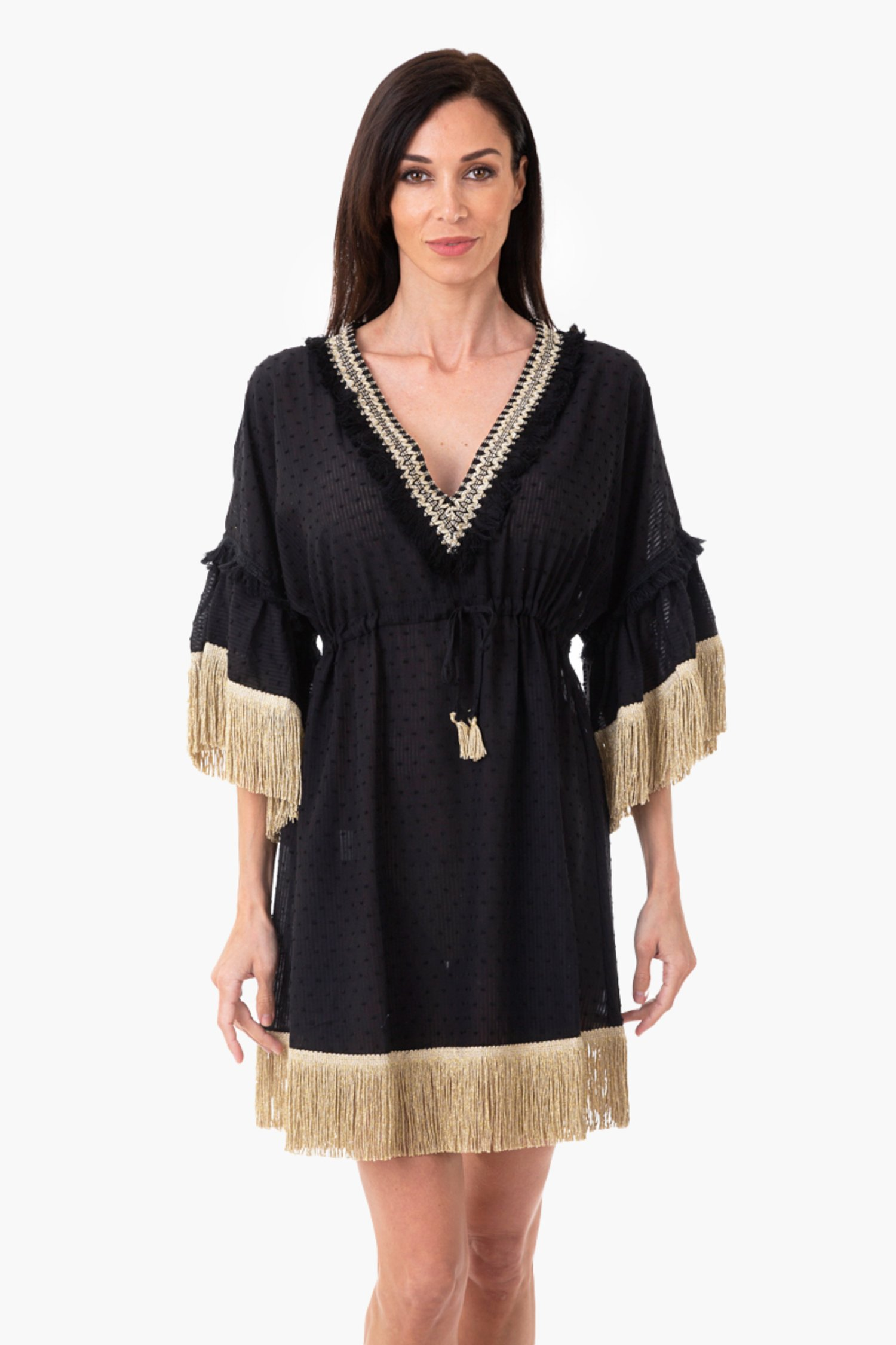 SHORT CAFTAN WITH TRIMMING FINISH - Black