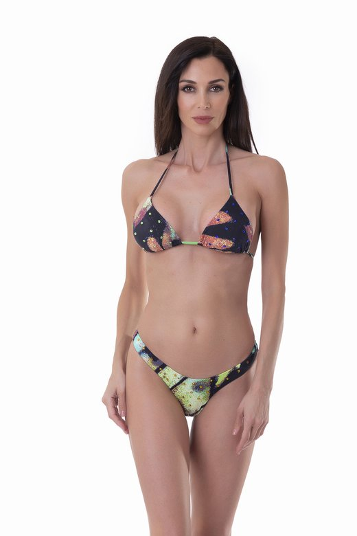 LUXE PRINTED TRIANGLE BIKINI WITH COLOURED RHINESTONES