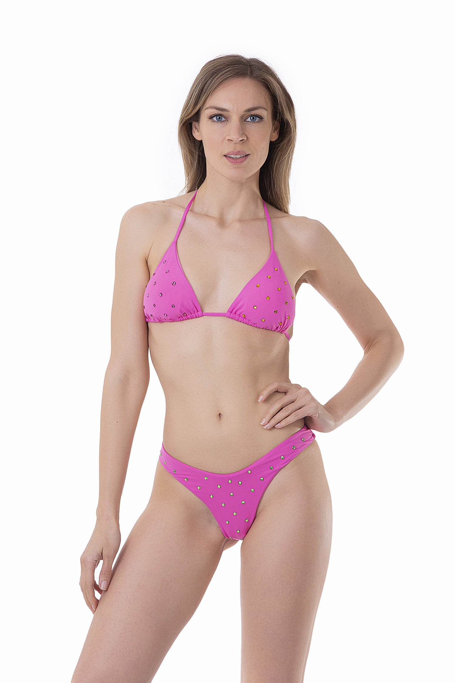 LUXE PLAIN COLOUR TRIANGLE BIKINI WITH COLOURED RHINESTONES - Rosa Camelia