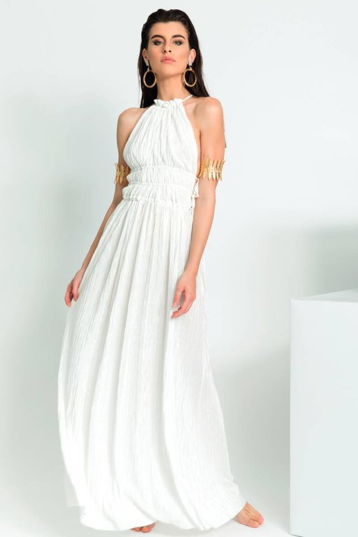 LONG DRESS HALTER NECKLINE PLEATED SOLID COLOUR