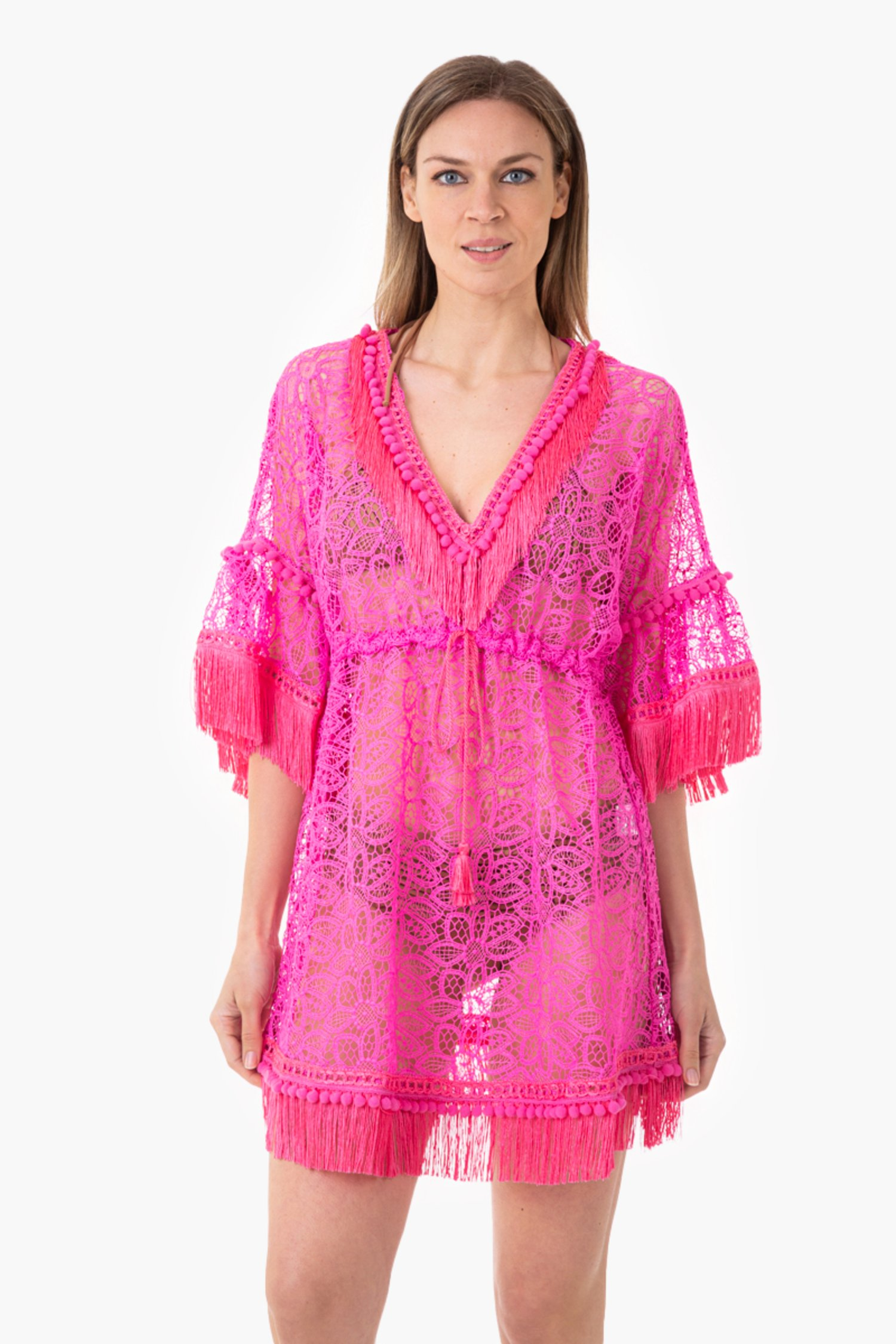 MACRAME' LACE SHORT KAFTAN WITH TRIMMING DETAILS - Pizzo Macrame' Camelia
