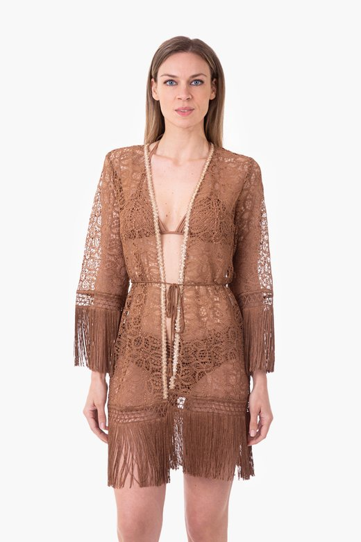 MACRAME' LACE SHORT ROBE WITH PASSEMENTERIE